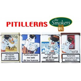 CAJA PITILLERA DE METAL SMOKERS CLUB FUMADORES CON TEXTO SURTIDO